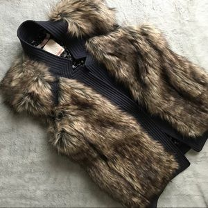 Rebecca Taylor Fab Faux Fur Silk Trim Boho Vest